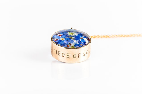 Speedwell, forget me not and strawberry seed red bronze and rose gold locket
