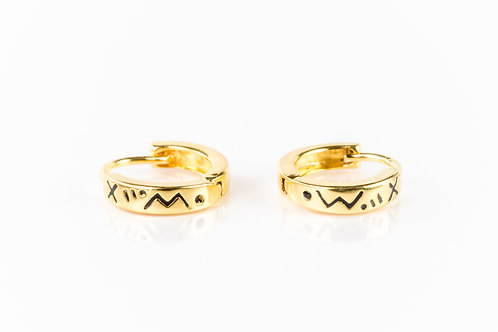 Tiny detailed gold plated sterling silver huggies
