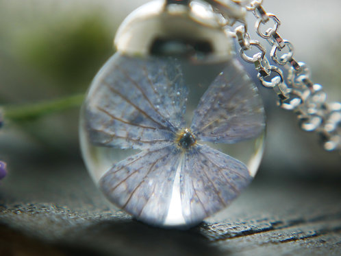 Powder blue hydrangea petal sterling silver resin sphere necklace