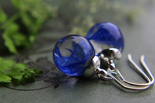 German cornflower petal sterling silver drop earrings