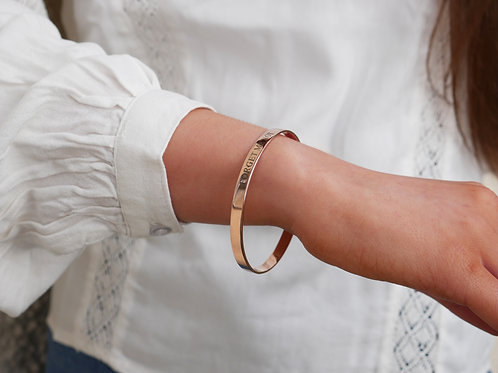Forget me not engraved rose gold plated sterling silver bangle