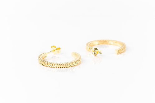 Woven gold plated sterling silver hoops