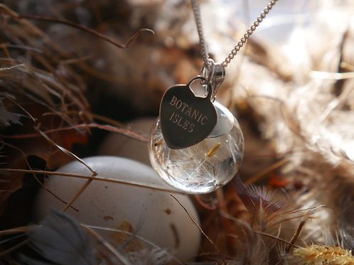 Dandelion seed sterling silver resin sphere necklace with engraved logo