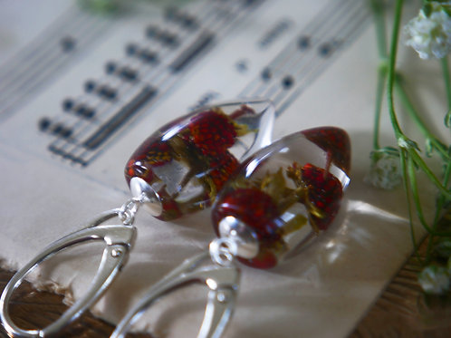 Wild strawberry 925 sterling silver drop earrings