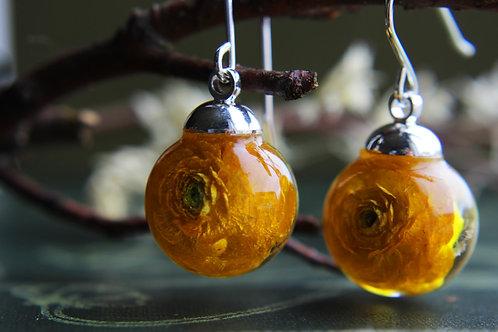 Ukrainian ranunculus sterling silver drop earrings