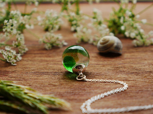 Scottish sea glass sterling silver resin sphere necklace