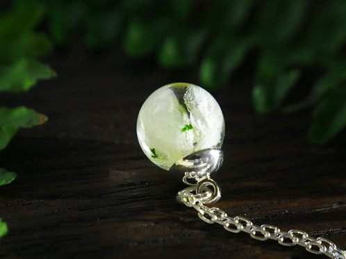 Real snowdrop resin sphere sterling silver necklace