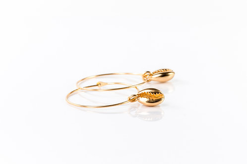 Shell detail gold plated sterling silver 16mm hoops