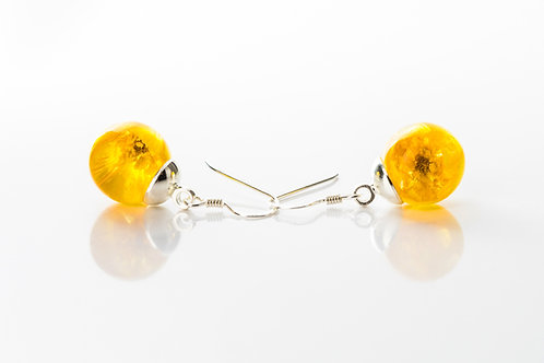 Tiny buttercup sterling silver drop resin sphere earrings
