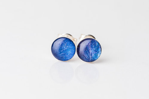 Blue hydrangea sterling silver resin studs