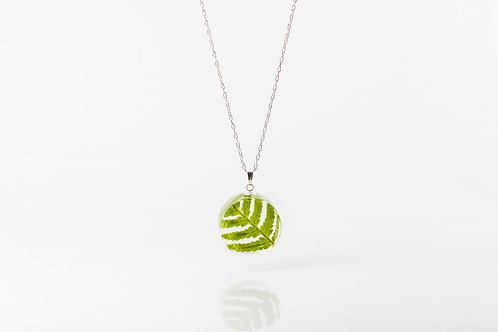Forest fern circle sterling silver necklace