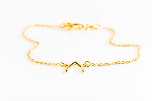 Wishbone gold plated sterling silver