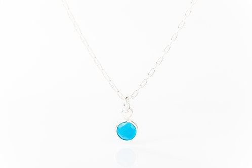 Tiny turquoise sterling silver precious gemstone necklace
