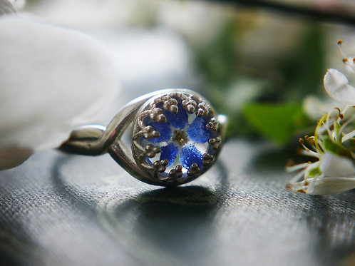 Forget me not sterling silver adjustable resin ring