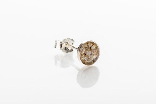 Men's sand resin 925 sterling silver stud earring