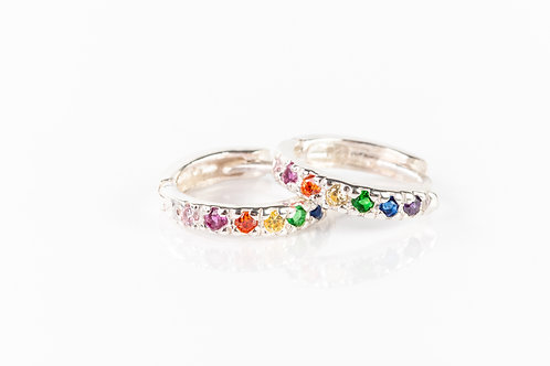 Rainbow sterling silver huggies