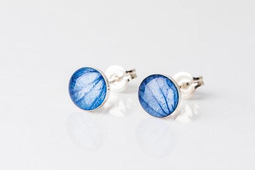 Blue hydrangea sterling silver resin studs