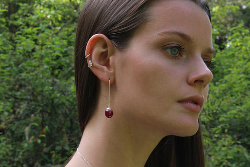Oblong peony petal sterling silver kidney wire drop earrings