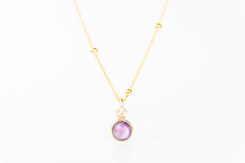 Tiny amethyst gold fill precious gemstone necklace
