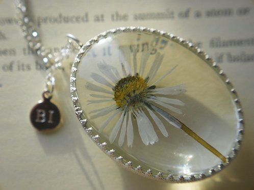 Pressed daisy sterling silver locket