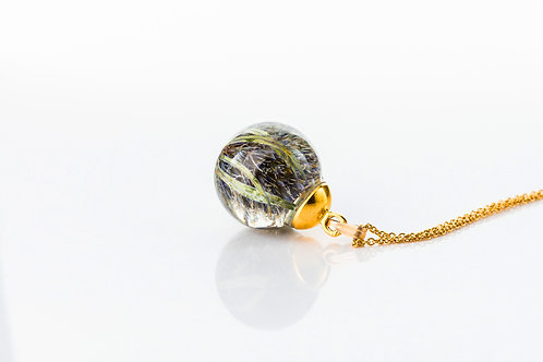 Scottish thistle gold fill resin sphere long necklace