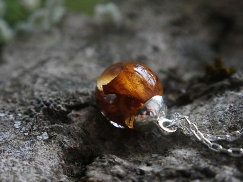 Autumn leaf sterling silver resin sphere necklace