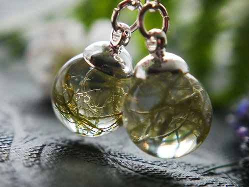 Lichen sterling silver resin sphere lever back earrings