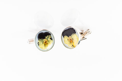 Miniature pansy sterling silver resin cufflinks