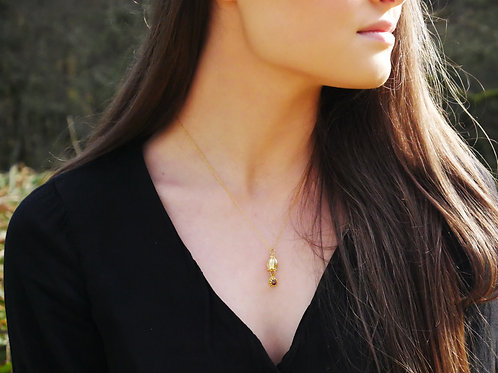 Gold bluebell and heather necklace