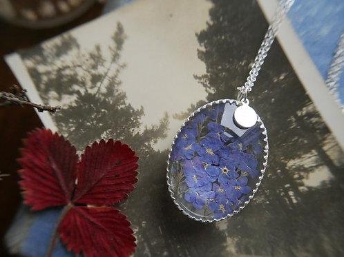 Pressed Forget me not sterling silver glass botanical lo
