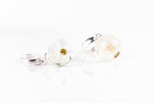Victoria plum blossom sterling silver resin sphere huggie earrings