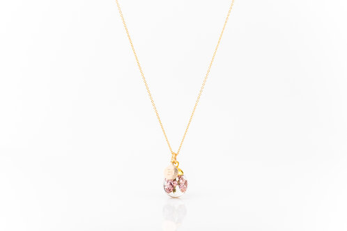 Heather gold fill resin sphere necklace with BI charm