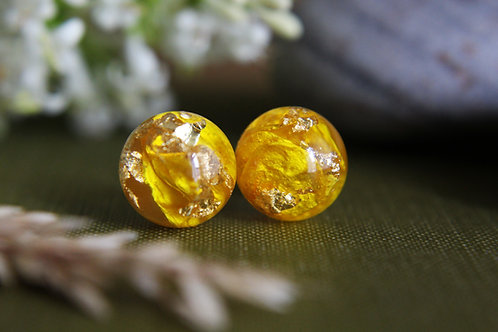Buttercup petal & gold sterling silver resin stud earrings