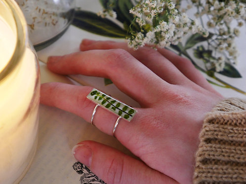 Fern multi-band sterling silver ring