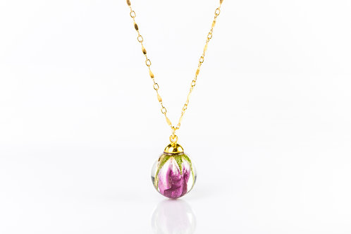 Wild rose bud gold fill necklace
