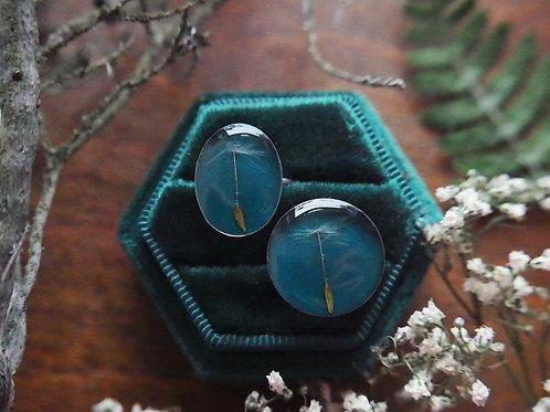 Ring duo - teal Dandelion seed stacking ring set