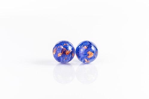 Cornflower and rose gold sterling silver resin stud earrings