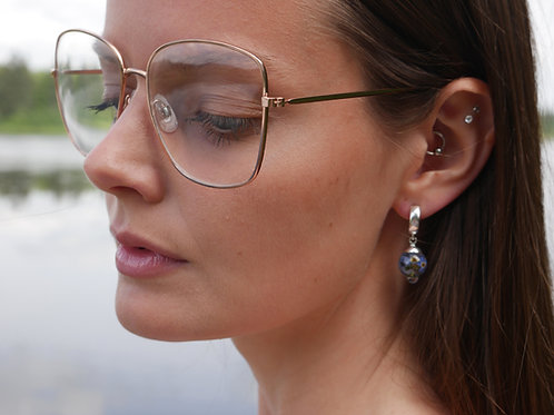 Forget me not droplet sterling silver huggie earrings