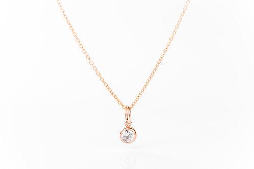 Tiny quartz rose gold precious gemstone necklace