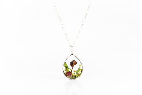 Wild mushroom, wild strawberry and moss engraved open locket necklace