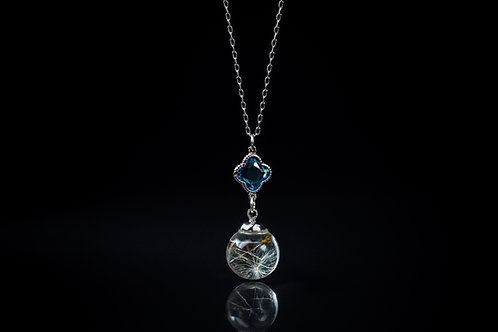 Dandelion seed and cubic zirconia sterling silver resin sphere necklace