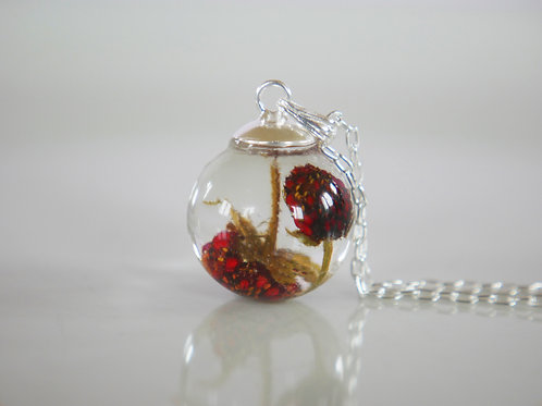 Double wild strawberry 925 sterling silver resin sphere necklace