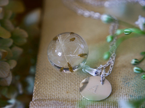 Dandelion seed resin sphere sterling silver initial necklace