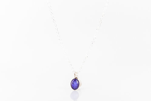 Tiny Scottish wild violet petal necklace