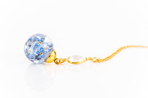 Forget me not and quartz resin sphere gold fill necklace