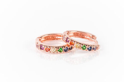 Rainbow rose gold plated sterling silver huggies