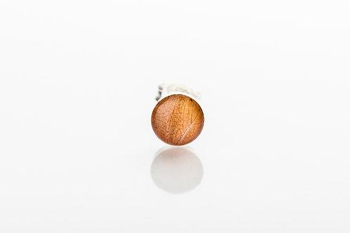 Men's orange botanical resin 925 sterling silver stud earring
