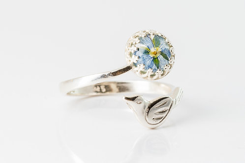 Common speedwell sterling silver magpie adjustable ring