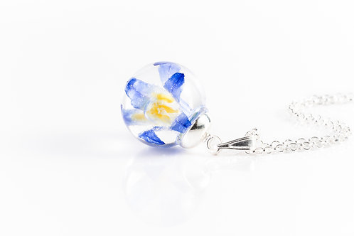 Glory of the snow wildflower sterling silver resin sphere necklace