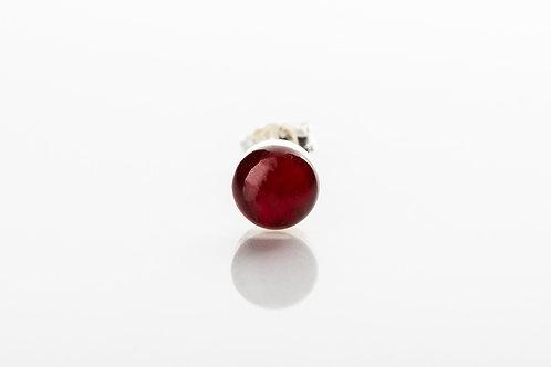 Men's red botanical resin 925 sterling silver stud earring